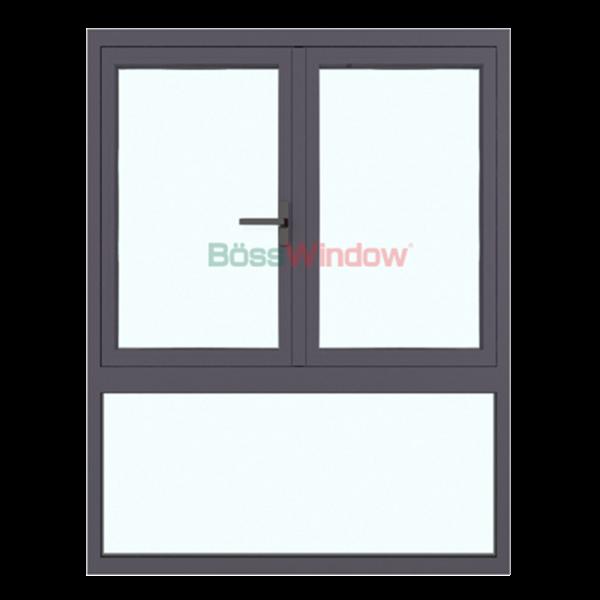 Cửa sổ 2 cánh mở quay + vách - Hệ Xingfa X55
