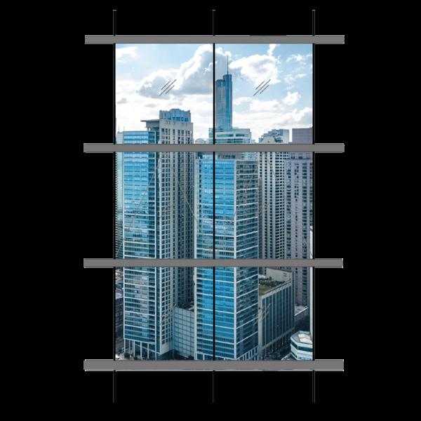 Vách kính thông tầng + cửa sổ - Hệ H100