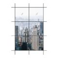 Vách kính thông tầng hệ dấu đố + cửa sổ - Hệ H135