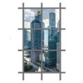 Vách kính thông tầng hệ lộ đố + cửa sổ - Hệ H135